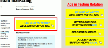 Screenshot portraying the use of different ad creatives.