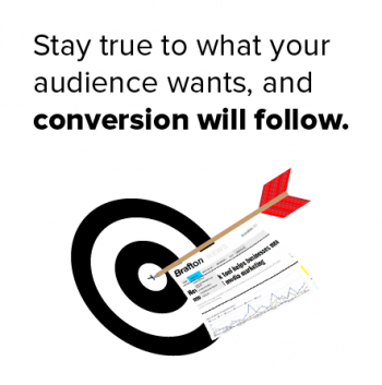 The key to online conversion is staying true to the interest of your audience and providing clear, compelling calls to action.