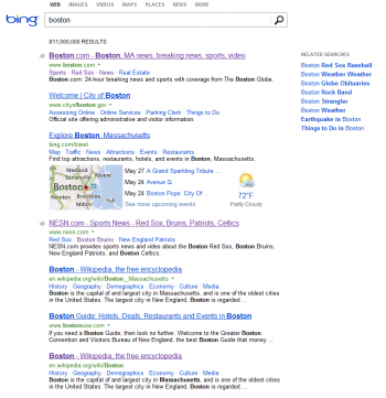 "Search results for the term ""Boston"" are different than those from Yahoo despite using the same algorithm."